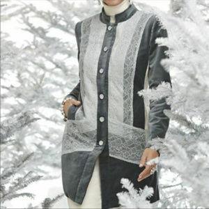 Chico's 2 L Gray Velvet Lace panel Long Jacket